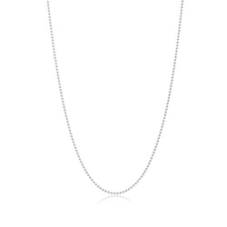 1.8mm Rhodium Plated Silver Ball Military Ball Chain Necklace