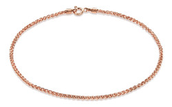 1.9mm High-Polished 0.16 mils (4 microns) Rose Gold Plated Silver Round Wheat Chain Necklace, 7'-30