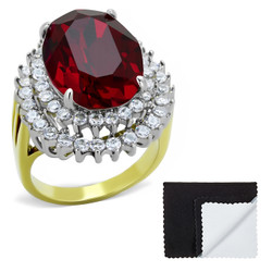 Stainless Steel IP Gold Plated Siam Red Cubic Zirconia Cocktail Ring