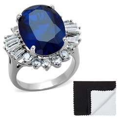 Stainless Steel IP Gold Plated London Blue Spinel Cubic Zirconia Cocktail Ring