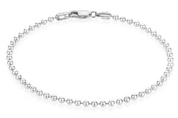 3mm High-Polished 0.16 mils (4 microns) Rhodium Plated Silver Round Ball Chain Necklace, 7'-30