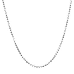 3mm Rhodium Plated Silver Ball Military Ball Chain Necklace