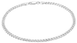 3.5mm Oxidized Plated Silver Flat Beveled Curb Chain Necklace, 7'-30
