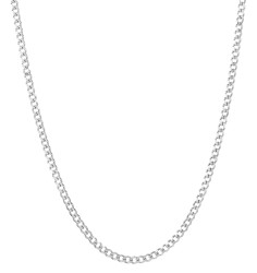 3.5mm Oxidized Plated Silver Beveled Curb Chain Necklace