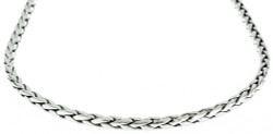 Men's 3mm Rhodium Plated Braided Wheat Chain Necklace, 36 inches
