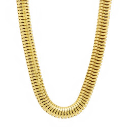 6.5mm 14k Yellow Gold Plated Round Snake Chain Necklace