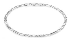 4mm High-Polished 0.16 mils (4 microns) Rhodium Plated Silver Flat Figaro Chain Necklace, 7'-30