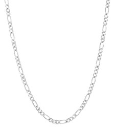 4mm Rhodium Plated Silver Flat Figaro Chain Necklace