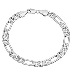 7mm Diamond-Cut Rhodium Plated Flat Figaro Chain Bracelet