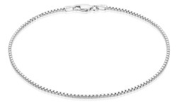 1.5mm High-Polished 0.16 mils (4 microns) Rhodium Plated Silver Square Box Chain Necklace, 7'-30