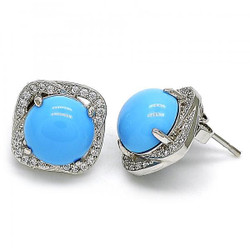 12.5mm Rhodium Plated Blue Opal Square Stud Earrings, 12.5mm