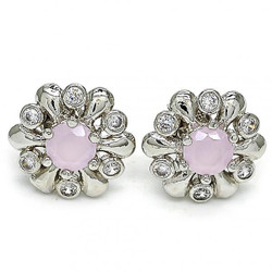 20.3mm Rhodium Plated Pink Tourmaline Opal Flower Stud Earrings, 20.3mm