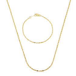 2mm 24k Yellow Gold Plated Twisted Singapore Chain + Link Bracelet Set, 16'18'20'24'30' (Necklace) + 7'8'9' (Bracelet)