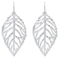 Sterling Silver Filigree Leaf Cut Out Nickel-Free Dangling Earrings - Made in Italy