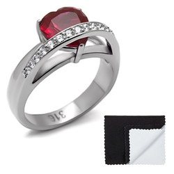 Stainless Steel Ruby Red Heart Cubic Zirconia Ring