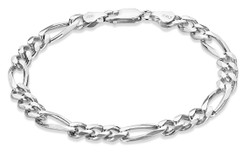 Men's 7mm Oxidized Plated Silver Flat Figaro Chain Necklace, 7'-30