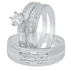 Couples Sterling Silver Italian Crafted Suspended CZ Row 3-Piece Wedding Ring Set + Bonus Polishing Cloth