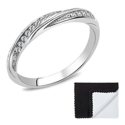 Stainless Steel High Polished Cubic Zirconia Eternity Band Ring