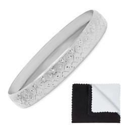 9.7mm Rhodium Plated Cut Pattern Bangle Bracelet