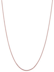 2.3mm High-Polished 0.16 mils (4 microns) Rose Gold Plated Silver Square Box Chain Necklace, 7'-30
