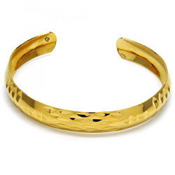 Women 10.5mm Gold Plated Diamond Cut Cuff Bangle Bracelet 7.6' One Size Fits All + Polishing Cloth