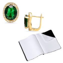 14k Gold Plated Green Oval 4 Prong Cubic Zirconia Hing Post Stud Earrings