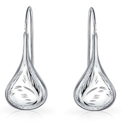 Sterling Silver Engraved Teardrop Raindrop Nickel-Free Dangling Earrings - Made in Italy