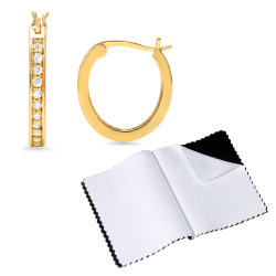 14k Gold Plated Hoop Cubic Zirconia Hing Post Stud Earrings