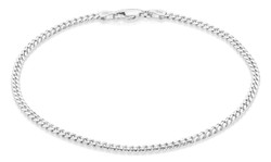 3mm 0.16 mils (4 microns) Rhodium Plated Silver Beveled Curb Chain Necklace, 7'-30 + Jewelry Cloth & Pouch