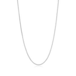 3mm Rhodium Plated Silver Rhodium Plated Silver Rhodium Plated Silver Flat Beveled Curb Chain Necklace