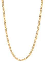 3.3mm 14k Yellow Gold Plated Flat Cuban Link Curb Chain Necklace