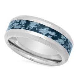 Titanium 8mm Comfort Fit Ring w/Dark Blue/Gray Riverstone Inlay + Microfiber