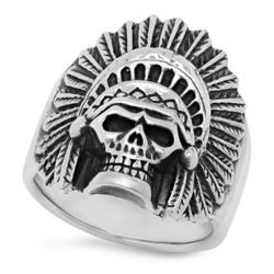 Oxidized 925 Sterling Silver Skull Chief in Headdress Ring + Microfiber