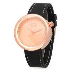 Rose Gold Plated Ice Master Watch w/ Swirling Dial & Black Rubber Band + Microfiber