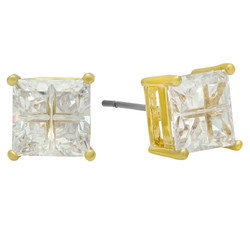8mm Square CZ Gold Plated Stud Earrings w/Invisible Setting + Microfiber