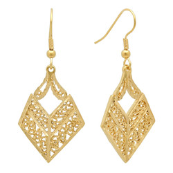 Yellow Gold Plated Intricate Filigree Drop Earrings + Microfiber