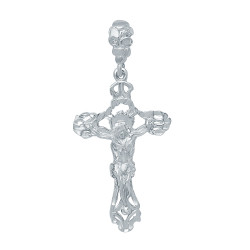Large 36mm x 6.1 cm Rhodium Plated Ornate Jesus Crucifix Pendant + Microfiber