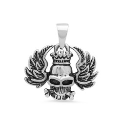 Highly Polished 30.5mm Stainless Steel Winged Crowned Skull Pendant + Microfiber