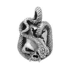 Highly Polished .925 Sterling Silver 24mm Scaled Snake & Skull Pendant + Microfiber