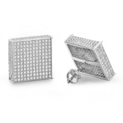Large 15mm Rhodium Plated Sterling Silver Micropave CZ Square Earrings + Microfiber