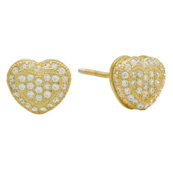 Gold Plated 925 Sterling Silver Pave CZ 3D Heart Earrings + Microfiber