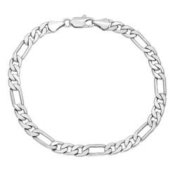 5.3mm Rhodium Plated Flat Figaro Chain Bracelet