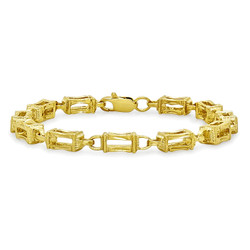 6mm Diamond-Cut 0.25 mils (6 microns) 14k Yellow Gold Plated Square Box Chain Link Bracelet