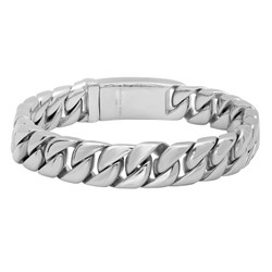 12.5mm High-Polished Stainless Steel Chunky Link Chain Bracelet