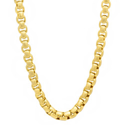 5mm 14k Yellow Gold Plated Square Box Chain Necklace, 20'-40