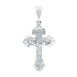 Large 32mm x 46mm Rhodium Plated INRI Titulus Cross Crucifix Pendant + Microfiber