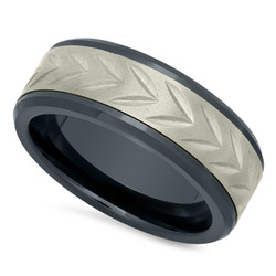 Black Ceramic 8mm Comfort Fit Ring w/Arrowhead Etched Titanium Inlay + Microfiber