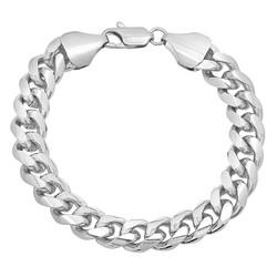 11mm Rhodium Plated Beveled Curb Chain Bracelet