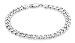 925 Sterling Silver Rhodium Plated 6.5mm Curb Chain or Bracelet - Made in Italy + Jewelry Cleaning Cloth