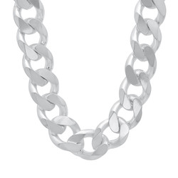 Men's 17mm Solid .925 Sterling Silver Beveled Curb Chain Necklace